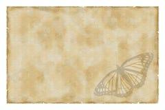 Papel de la vendimia con la mariposa foto de archivo libre de regalías