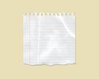 Papel de nota alineado rasgado blanco Imagenes de archivo