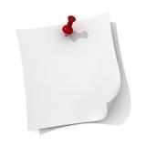 Papel de nota branco com o pino vermelho do impulso Foto de Stock
