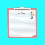 Papel de nota com grampo de papel Fotos de Stock Royalty Free