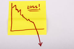 Papel de nota con el gráfico de negocio de las finanzas que va abajo - pérdida Foto de archivo libre de regalías
