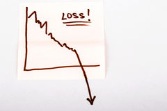 Papel de nota con el gráfico de negocio de las finanzas que va abajo - pérdida Imagen de archivo libre de regalías