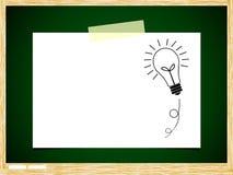 Papel de nota da idéia do bulbo na placa verde Imagens de Stock