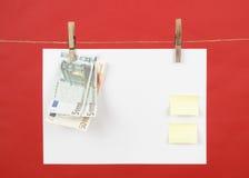 Papel de nota de la memoria con el dinero euro Imagenes de archivo
