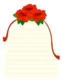 Papel de nota de las rosas Imágenes de archivo libres de regalías