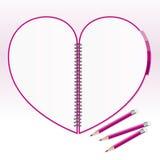 Papel de nota del corazón con el lápiz Foto de archivo libre de regalías
