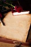 Papel de nota del vintage para una letra de amor Foto de archivo