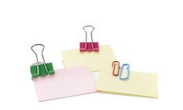 Papel de nota do vetor com grampo Foto de Stock