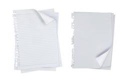 Papel de nota em branco sobre o fundo branco Imagens de Stock