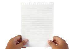 Papel de nota en blanco Foto de archivo