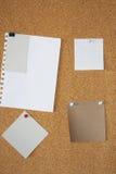 Papel de nota en blanco sobre un corkboard Foto de archivo