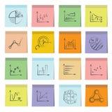 Papel de nota pegajoso de los iconos de la carta y del gráfico Fotos de archivo libres de regalías
