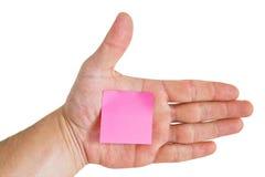 Papel de nota rosado Fotografía de archivo libre de regalías