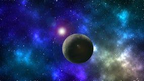 Papel de parede abstrato do espaço Fundo colorido do espaço Planeta e lua Protagonizar no papel de parede do espaço imagens de stock royalty free