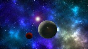 Papel de parede abstrato do espaço Fundo colorido do espaço Planeta e lua Protagonizar no fundo do espaço imagem de stock royalty free
