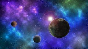 Papel de parede abstrato do espaço Fundo colorido do espaço Planeta e lua Protagonizar no fundo do espaço fotos de stock