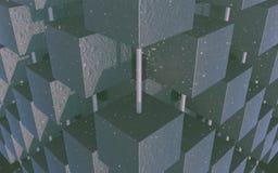 Papel de parede abstrato escuro do cubo fotos de stock