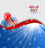 Papel de parede americano para o Dia da Independência, cores nacionais tradicionais, balões ilustração stock
