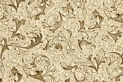 Papel de parede antigo com teste padrão floral Fotos de Stock Royalty Free