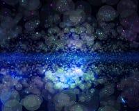 Papel de parede azul abstrato do bokeh da galáxia ilustração stock