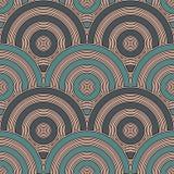Papel de parede azul da escala de peixes da cor Ornamento tradicional asiático com vieiras repetidas Teste padrão sem emenda com  ilustração royalty free