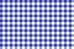 Papel de parede azul e branco da textura do quadrado do tablecloth Imagens de Stock Royalty Free