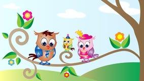 Papel de parede bonito dos desenhos animados das corujas Foto de Stock Royalty Free