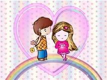 Papel de parede bonito dos desenhos animados do amor Imagens de Stock