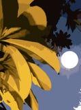 Papel de parede com as folhas no efeito da lua da noite ilustração royalty free