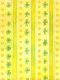 Papel de parede com flores verdes Fundo amarelo, teste padrão watercolor fotografia de stock