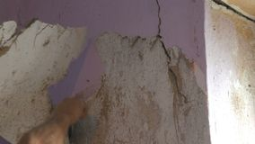 Papel de parede cor-de-rosa decr?pito em uma parede, reparo da casa Homem que descasca o papel de parede velho com esp?tula espec video estoque