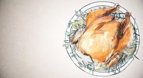 Papel de parede cozido da galinha ilustração royalty free