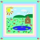 Papel de parede da arte das crianças do desenho da natureza Ilustração Stock