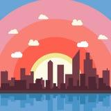 Papel de parede da opinião da ilustração do fundo do vetor dos desenhos animados da cidade Imagens de Stock Royalty Free