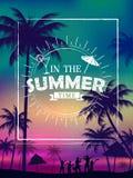 Papel de parede do cartaz das horas de verão para o molde da bandeira do convite do partido do divertimento Imagem de Stock Royalty Free
