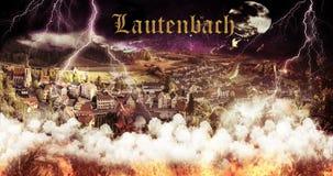Papel de parede do fogo de Lautenbach Alemanha imagens de stock royalty free