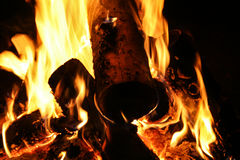 Papel de parede do macro da noite da fogueira Fotos de Stock