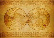 Papel de parede do vintage, mundo do mapa Fotografia de Stock Royalty Free