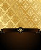 Papel de parede dourado do damasco com Copyspace ilustração stock