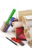 Papel de parede e ferramentas isolados Imagem de Stock Royalty Free