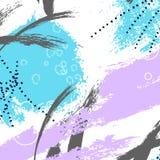 Papel de parede expressivo moderno do grunge Tela do curso da escova nas cores azuis violetas decoração de 2018 contrastes Cor pa Foto de Stock