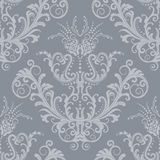 Papel de parede floral de prata luxuoso do vintage Fotos de Stock