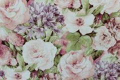 Papel de parede floral do fundo na parede Fotos de Stock Royalty Free