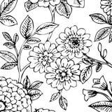 Papel de parede floral preto/branco imagens de stock royalty free