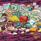 Papel DE Parede Graffiti Bizarre Naadloze Textuursticker Royalty-vrije Stock Foto's