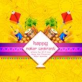 Papel de parede de Makar Sankranti com o papagaio colorido para o festival Fotos de Stock