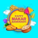 Papel de parede de Makar Sankranti com o papagaio colorido para o festival da Índia ilustração stock