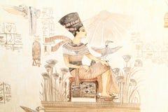 Papel de parede modelado com o Pharaoh no trono Fotos de Stock Royalty Free