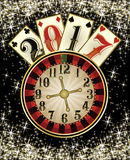 Papel de parede novo do casino de 2017 anos com cartões do pôquer Fotos de Stock Royalty Free