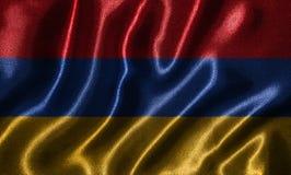 Papel de parede pela bandeira de Armênia e pela bandeira de ondulação pela tela Imagens de Stock